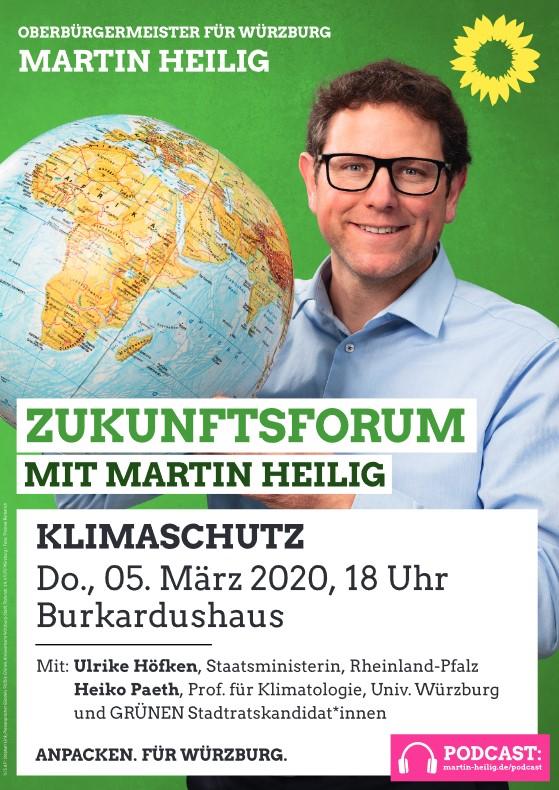 Ankündigung Zukunftsforum Klimaschutz - Martin Heilig mit Weltkugel in der Hand